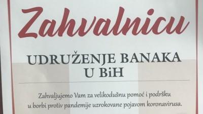Bankama u BiH uručena Zahvalnica
